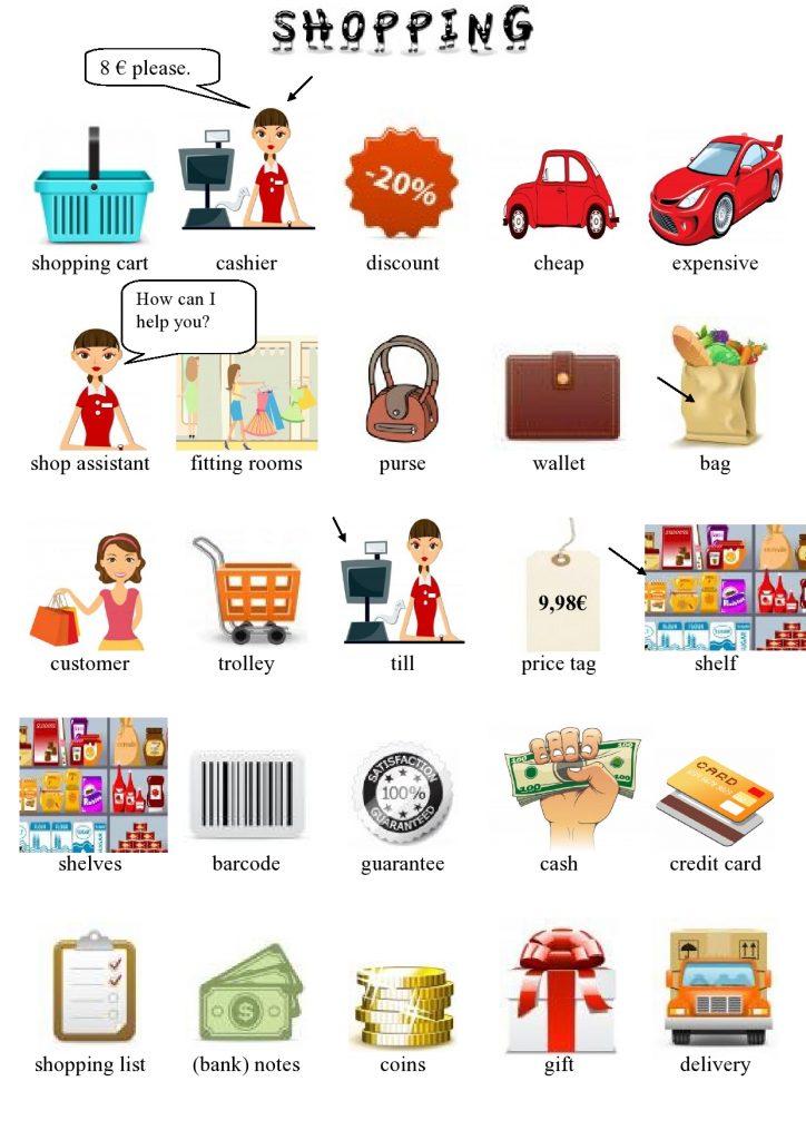 Shopping in inglese