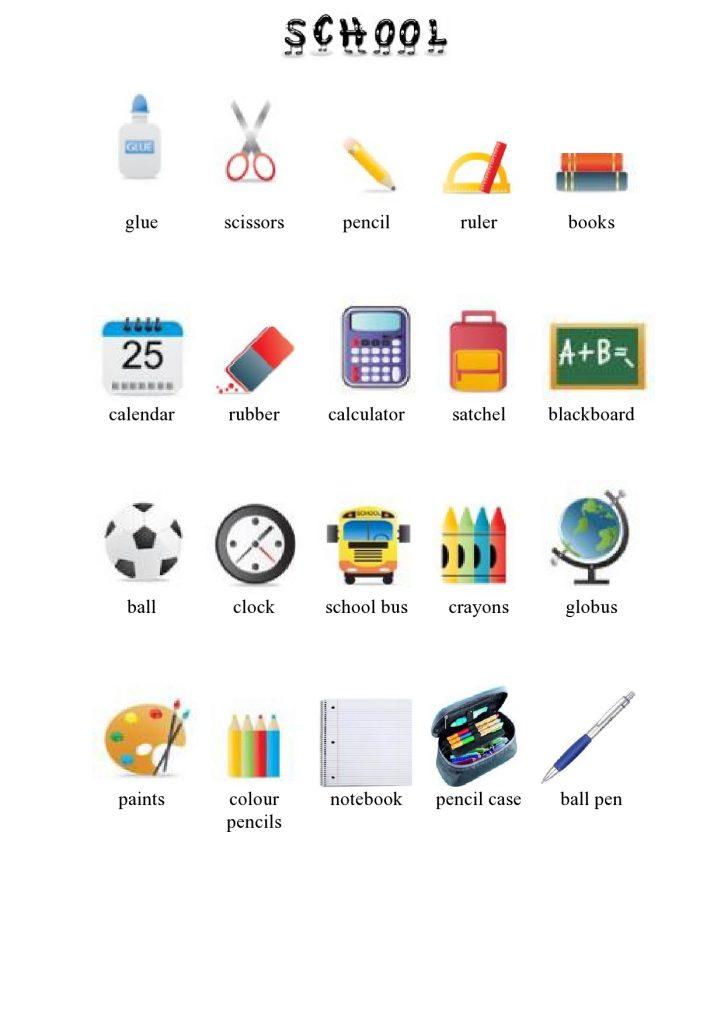 Predmeti v šoli v angleščini